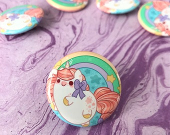Kawaii Unicorn Nugget Pinback Button or Magnet