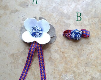 Fabric Textile Flower Brooch Rosette Ribbon Tassel Bow Tie Rosette Man Pin boutonniere Party Favor