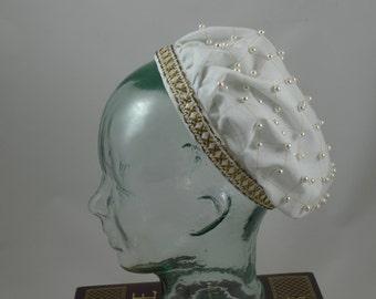 Made to Order Elizabethan Renaissance Linen Beaded Coif - White Linen