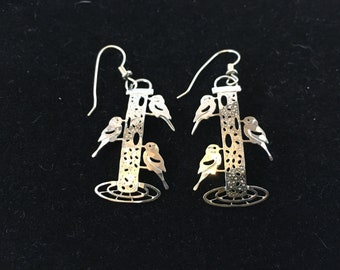 Vintage, Wild Bryde, Silver Plated, Birds on Bird Feeder Earrings - Ear Wire.