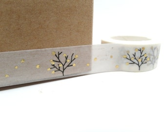 Black and White Washi Tape Tree with Gold Dots Washi Tape 15mm x 5m