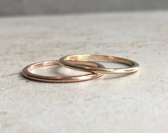 1 mm Wedding Band- Solid 14K Gold Half Round Band -  Rose Gold - Yellow Gold - White Gold - Stacking Ring - Stackable Ring