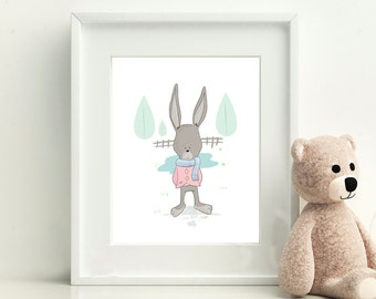 Rabbit Print, Nursery Wall Art, Child's print, Rabbit Art, Gift for a girl, Gift for a boy, Picture for a kids room, Digital
