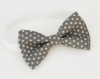 Dark Gray and white Polka dots Bow-tie - boys bow tie - adult bow tie - baby bow tie - polka dots bow tie