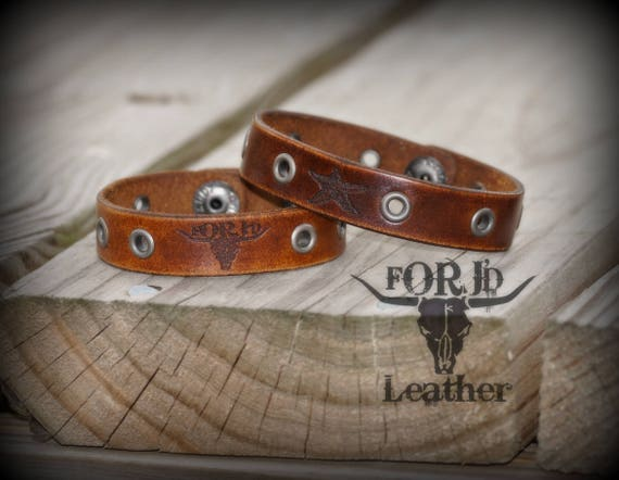 Handmade Leather Bracelet, Engraved Leather Bracelet, Punk Leather Bracelet, Leather Jewelry