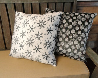 Velvet Snowflake Print Pillow Covers // Christmas Pillow Covers // Gray // White // Holiday Home Decor // 20 x 20 // 22 x 22 // Custom Sizes