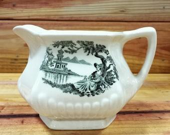 Porcelain Creamer Wm. Adams & Sons English Ironstone Creamer Minuet Pattern.  Box 200