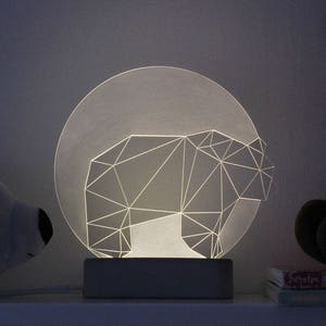 Bear Lamp Full Moon / Panda Lamp / Night Light / Nursery Lamp / Desk Lamp