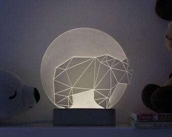 Bear lamp Full Moon / Panda lamp / Night light / Nursery lamp / Desk lamp / concrete / Led lamp / Orso / Grizzly / Vulture / Geometric bear