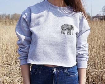 Boho Elephant Cropped Sweater Bohemian Festival Summer Jumper Crop