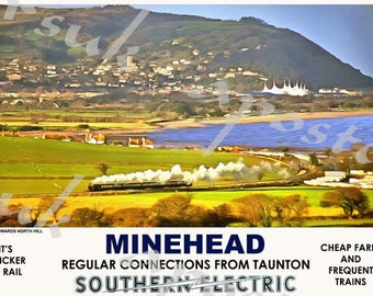 Vintage Style Railway Poster Minehead  A3/A2 Print