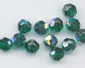 "Twelve ""out of program""  Swarovski crystals - Art. 5000 - 8 mm - emerald AB"