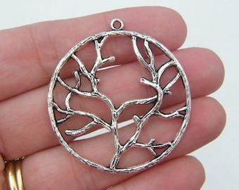 BULK 20 Tree pendants antique silver tone T11