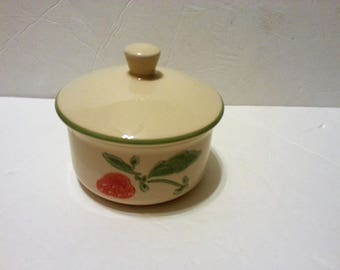 Ceramic Sugar Bowl with Strawberry on Front & Back