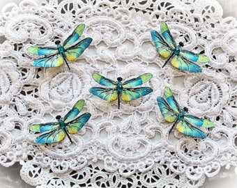 Reneabouquets Tiny Treasures Handcrafted Premium Paper Dragonfly Set-  Mystic Topaz Dragonflies