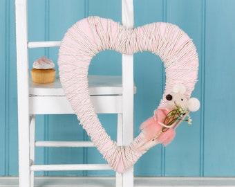 Pink and White Mouse door hanging, door wreath for children's room, or nursery, fun and sweet, heart shaped for love