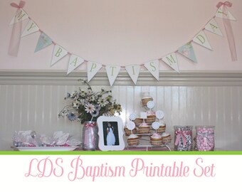 LDS Baptism Printable Party Set, Pink and Gray, Girls Baptism, Chews the Right, CTR, Choose the Right, Floral Baptism Prints