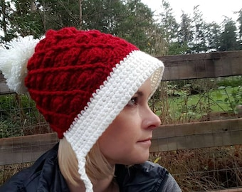 Frieda Slouchy Crochet Hat, adult christmas santa hat, red and white christmas hat, slouchy, knit christmas santa hat, crochet santa hat