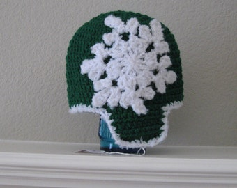 Snowflake Earflap Hat for Baby Toddler Winter Beanie Toboggan Crochet Handmade Crocheted New Holiday Night and Day Crochet Ready to Ship