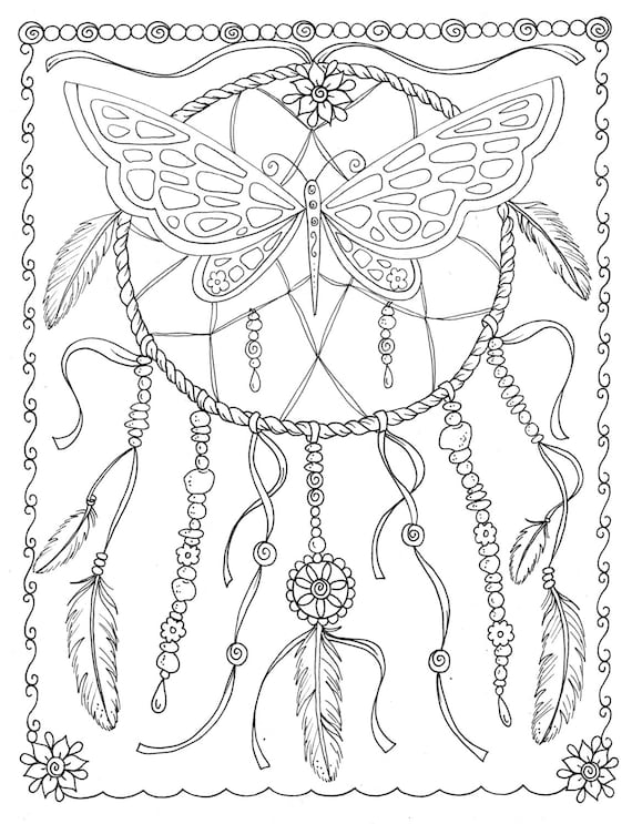 Butterfly Dreamcatcher Coloring Page Instant Download Digital