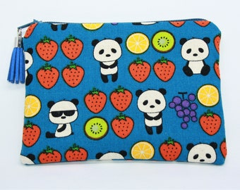 Wallet / clutch in cotton pandas with fruit patterns!