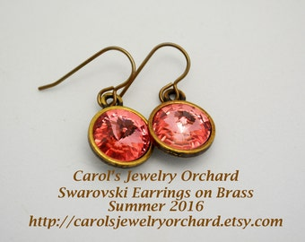 Swarovski Earrings of Rose Peach Rivoli Crystals with Antiqued Brass Bezels and Vintaj Brass Earwires. Great Summer Color. Handmade Jewelry.