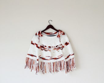 Vintage Crocheted Poncho Handmade Autumn Colors