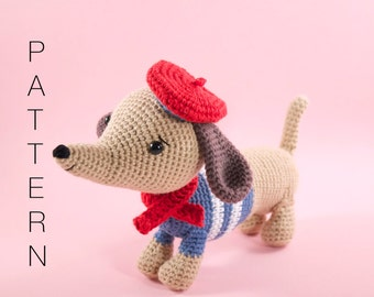 Amigurumi crochet doll pattern - Manu the dachshund sausage dog PATTERN ONLY (English)