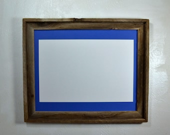 16x20 poster frame from reclaimed wood with 12x18 blue mat fits 11x14,12x16,11x17 or 12x18