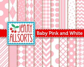 Baby Pink Digital Paper Pack in 20 Graphic Patterns - for Scrapbooking, Card Making and Invitations - Instant Download