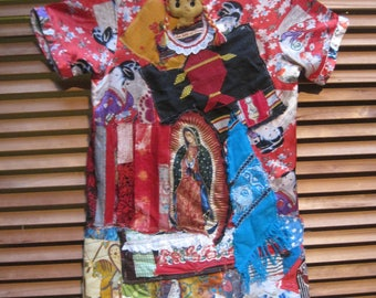 my bonny:  WARRIOR GEISHA WOMAN -  Patchwork Kimono Couture -Altered Asian Vintage Linens Fabric Collage -Wearable Folk Art