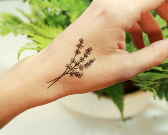 Henna Tattoo Jamaica : Lavender twigs temporary tattoo collection of 2 black ink