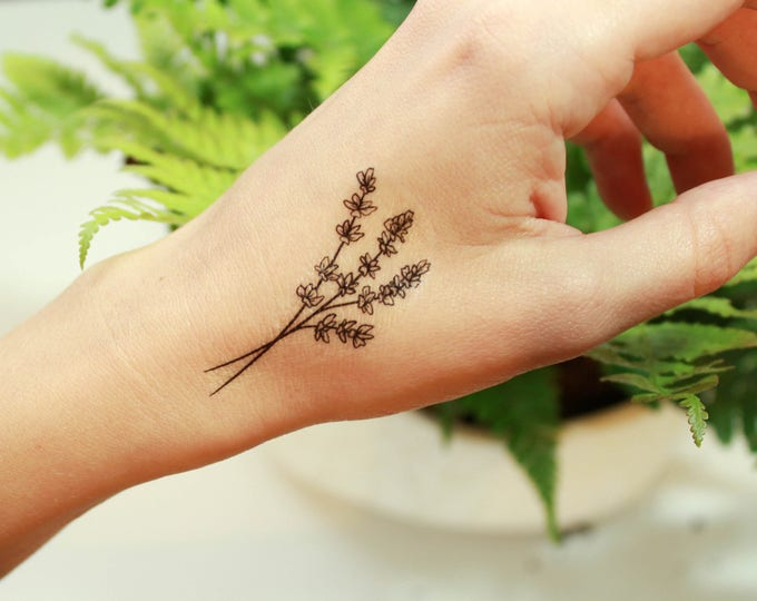 Featured listing image: Lavender Twigs Temporary Tattoo, Collection of 2, Black Ink Tattoo Design, Botanical Drawing, Nature Tattoo