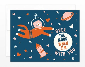Space Cat Card, Valentine's Day Card, Anniversary Greeting Card, Love Dating Card, Cat Astronaut Card, card for cat lovers, boyfriend card