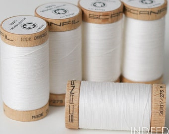White Scanfil Organic Cotton Thread, 300 Yards, Color #4800