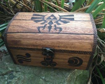 Legend of Zelda inspired chest with drop latch, with goddess symbols, zelda, zelda fan