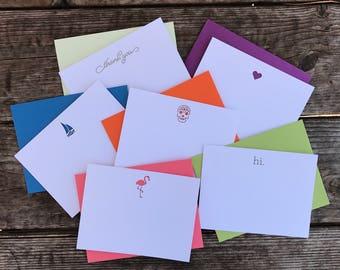 Laser Cut Notecard Set - Flamingo, Heart, Hi., Sailboat, Skull, Thank You
