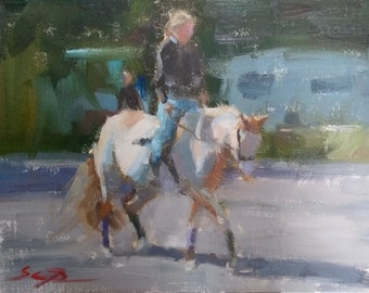 """A White Horse. Original oil painting. 9""""x12"""""""