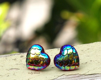 Dragon Scale Heart Stud Earrings, Red Gold and Blue Shimmer Scale Mermaids Posts, Choose Titanium or Stainless Steel,12mm