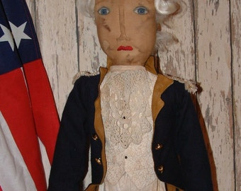 "Primitive Folk Art George Washington Doll ""E"" Pattern"