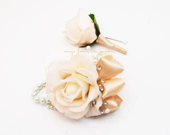 Blush Real Touch Rose Wedding Boutonniere & Wedding Corsage with Crystals and Pearl Accents Wedding Homecoming Prom Corsage