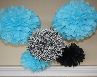 Tissue Paper Pom Poms - set of 5 - Your Color Choice - Party decorations - blue and zebra theme