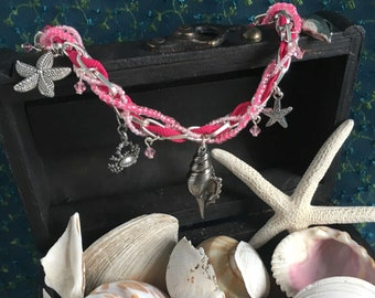 mermaid charm & ribbon necklace - pink, mermaid collection