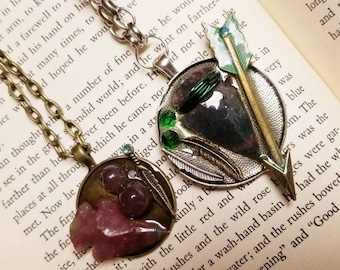 Robin Hood and Maid Marian Shadowbox Collage Pendant Set Couple's Jewelry Literary Inspired Necklaces Medieval Jewelry