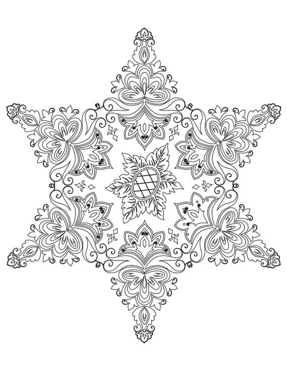 abstracte mandala volwassen kleurplaat ster