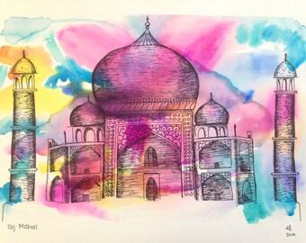 Taj Mahal Ink and Watercolor