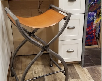Bar Stool Or Kitchen Island Stool. Thick Leather
