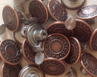 Bronze Jean Buttons and Fasteners (x 10 pack)