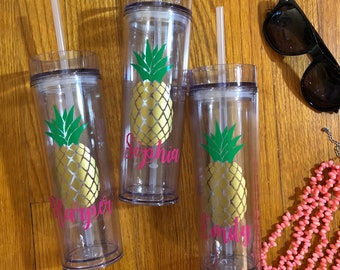 Personalized Pineapple Clear Acrylic Tumbler | Bridal Tumbler | Beach Tumbler | Bachelorette Tumbler