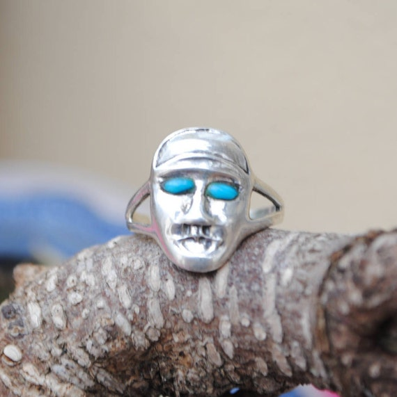 Face silver ring vintage native american turquoise, face rings, mask ring, silver ring, sterling silver ring, vintage rings, turquoise